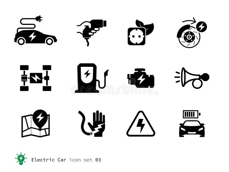 Électro collection d'icônes de voiture illustration stock