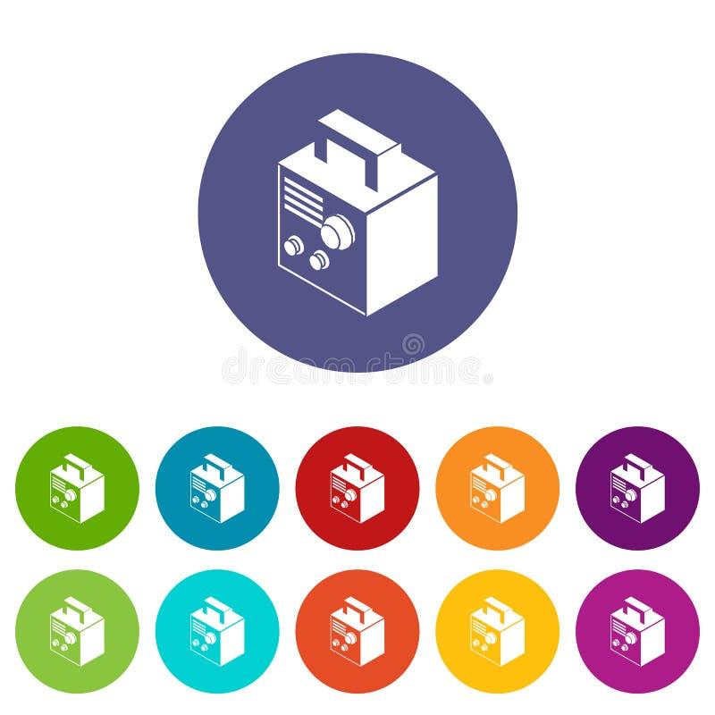 Électro couleur de vecteur réglée de machine de soudure par icônes illustration de vecteur