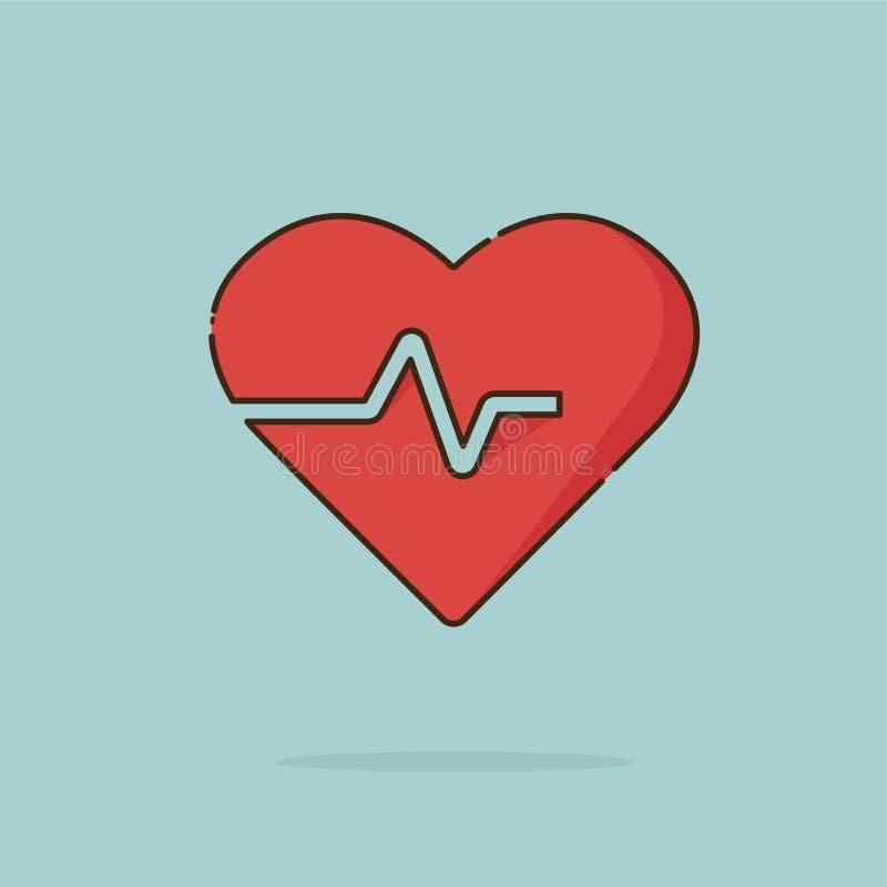 Électro rouge d'icône de cardiogramme de coeur illustration libre de droits