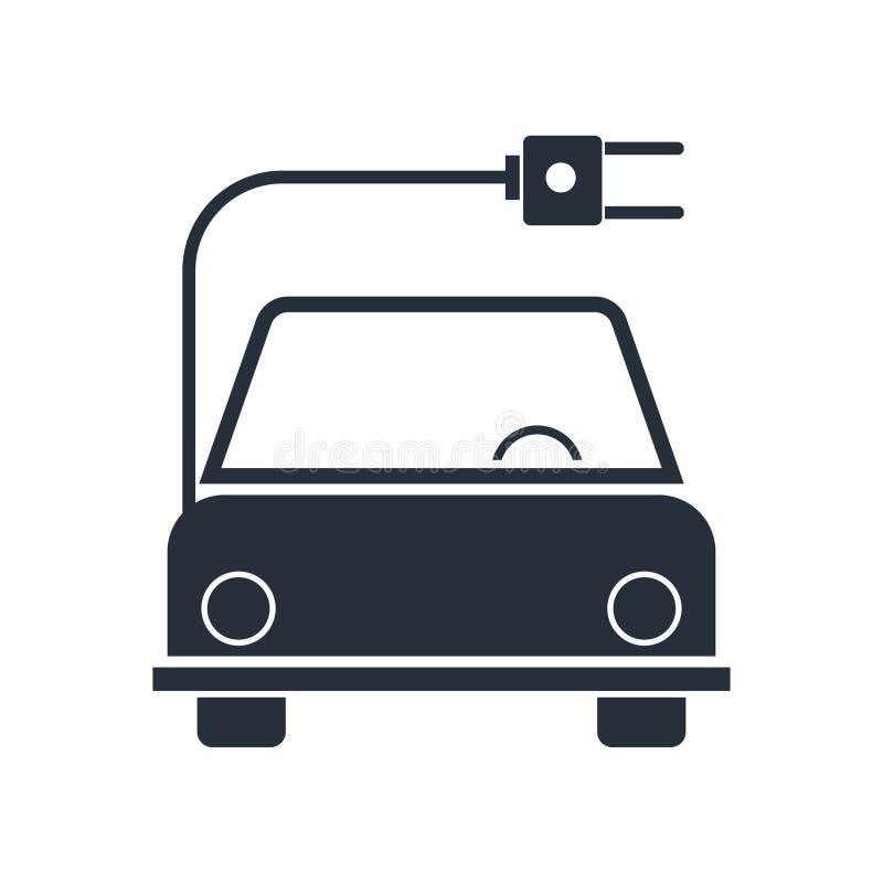 Électro signe et symbole de vecteur d'icône de voiture d'isolement sur le fond blanc, électro concept de logo de voiture illustration stock