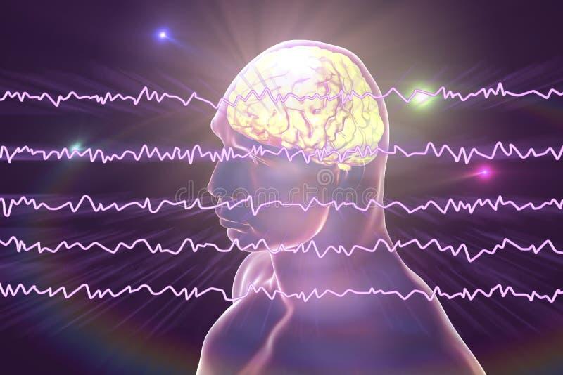 Électroencéphalogramme d'EEG, onde cérébrale dans l'état éveillé avec l'activité mentale illustration stock
