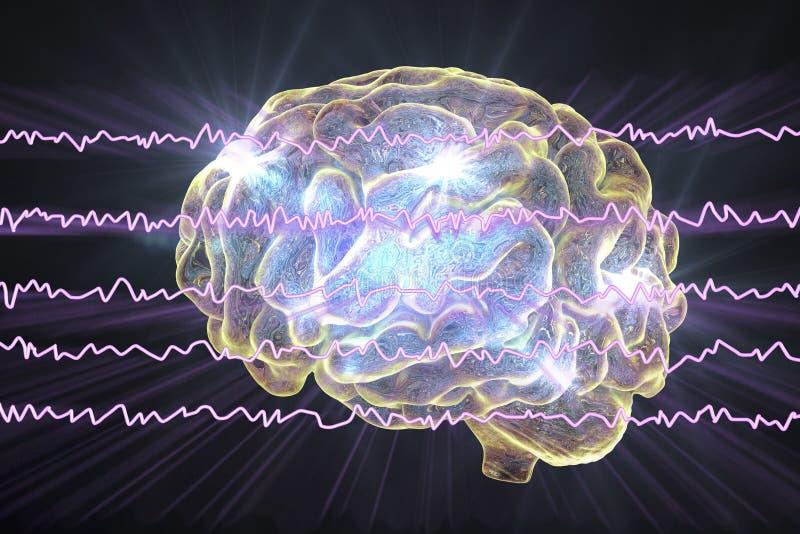 Électroencéphalogramme d'EEG, onde cérébrale dans l'état éveillé avec l'activité mentale illustration de vecteur