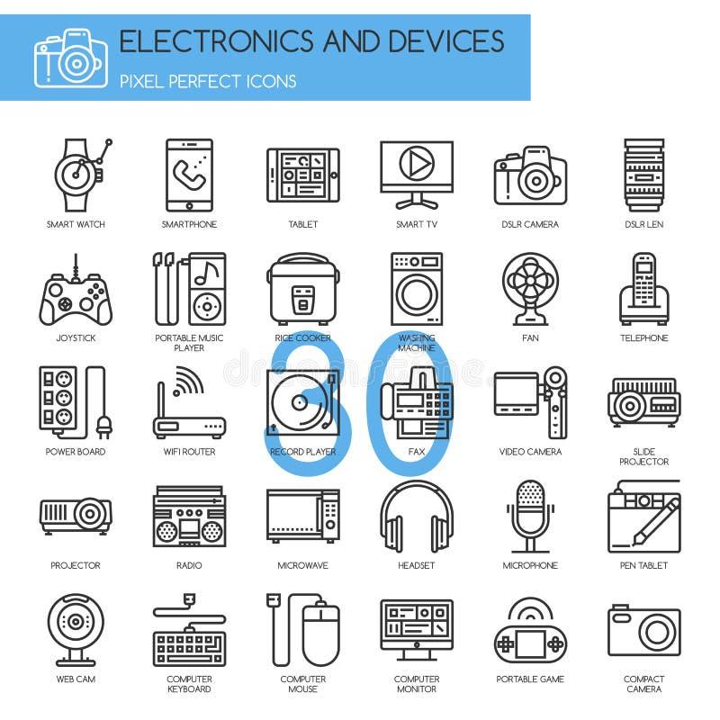 Électronique et dispositifs, ligne mince icônes réglées illustration libre de droits