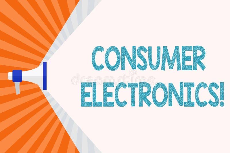 Électronique grand public d'apparence de signe des textes Consommateurs conceptuels de photo pour le mégaphone quotidien et non illustration de vecteur
