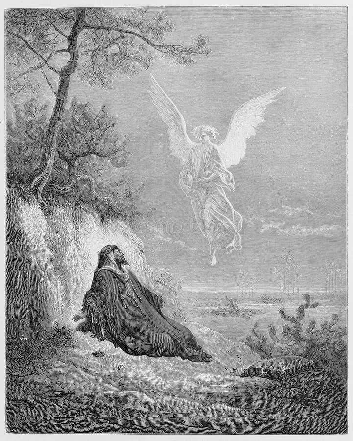 Élijah est nourri par un ange image stock