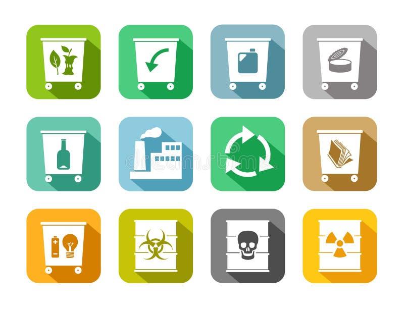 Élimination des déchets, icônes de couleur, vecteur illustration libre de droits