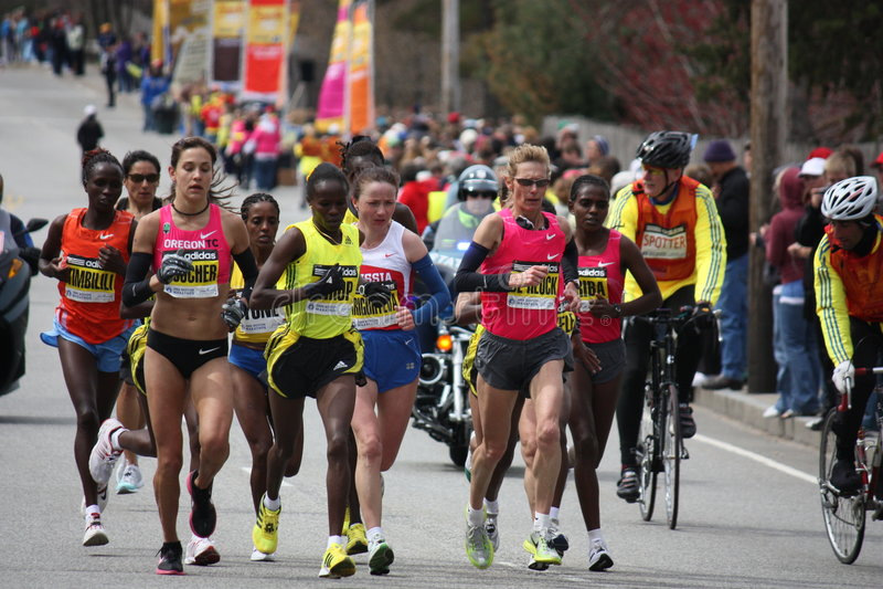 Élite de Womes de marathon de Boston photo libre de droits