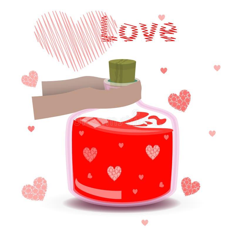 Élixir de l'amour avec le label et les coeurs illustration stock
