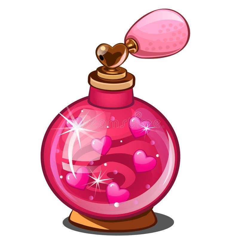 Élixir de l'amour Bouteille de parfum rose avec des coeurs illustration libre de droits