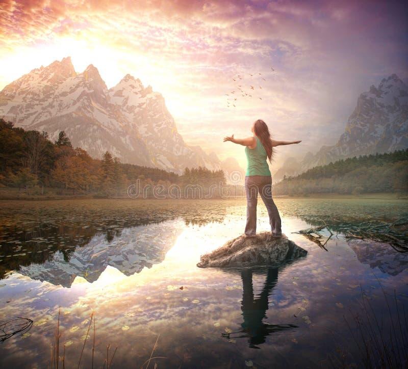 Éloge au lever de soleil de matin photo libre de droits