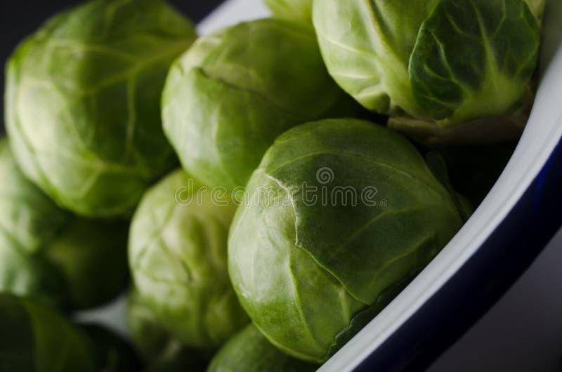 Émaillez l'étain de cuisson rempli de choux de Bruxelles verts feuillus photographie stock libre de droits