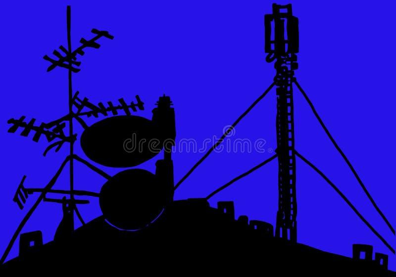 Émetteur d'antenne et de toit d'antenne parabolique de silhouette photographie stock libre de droits