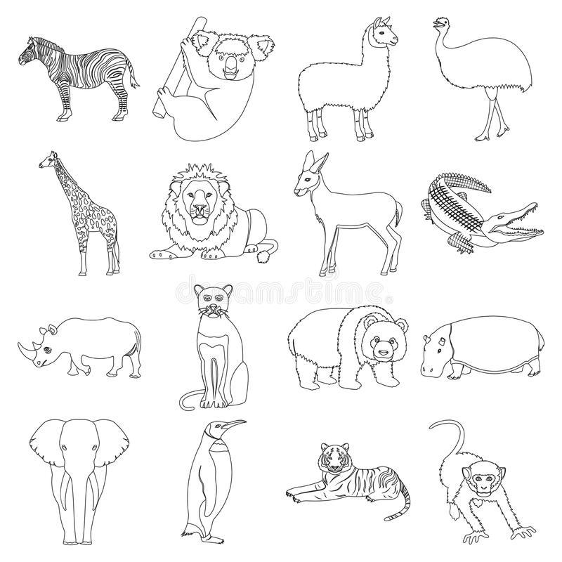 Émeu d'autruche, crocodile, girafe, tigre, pingouin et d'autres animaux sauvages Artiodactyla, prédateurs mammifères et animaux illustration de vecteur