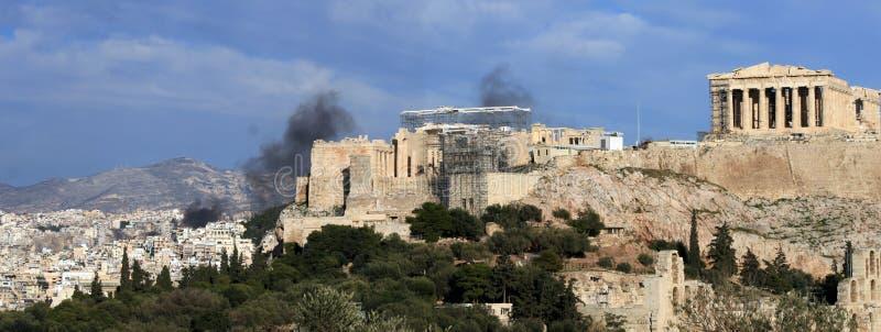 Émeutes d'Athènes Grèce   photo stock