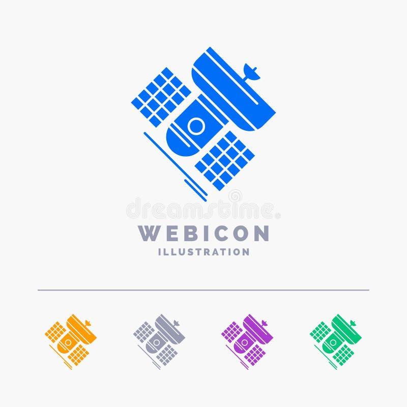 Émission, radiodiffusion, communication, satellite, calibre d'icône de Web de Glyph de couleur de la télécommunication 5 d'isolem illustration libre de droits