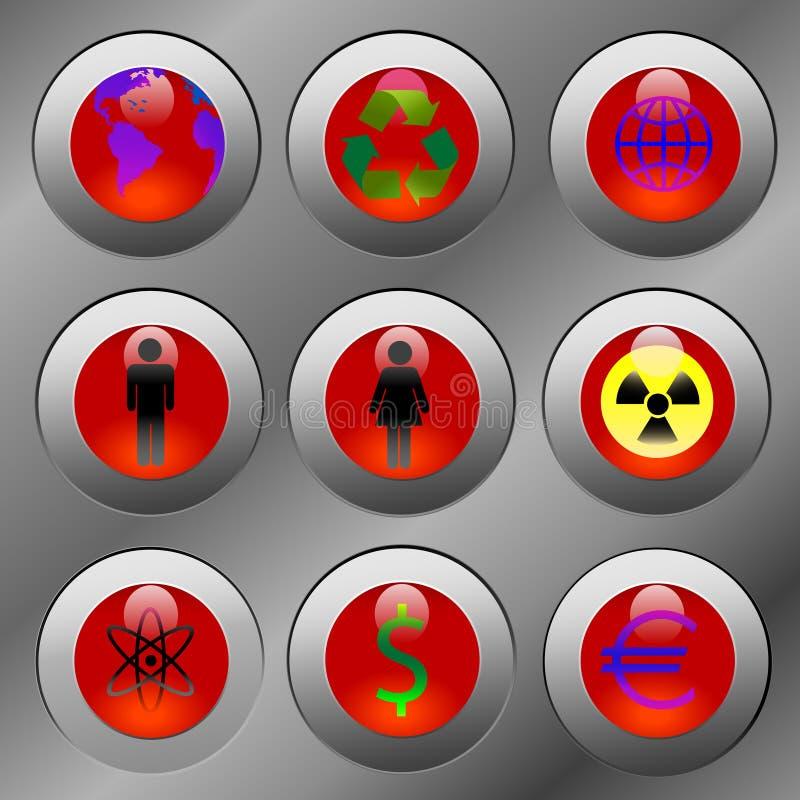 Émissions chaudes de bouton illustration libre de droits