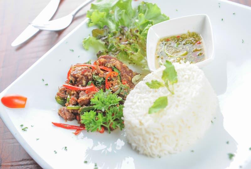 Émoi Fried Beef Basil photos libres de droits