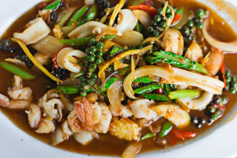 Émoi Fried Seafood de plat chaud photos libres de droits