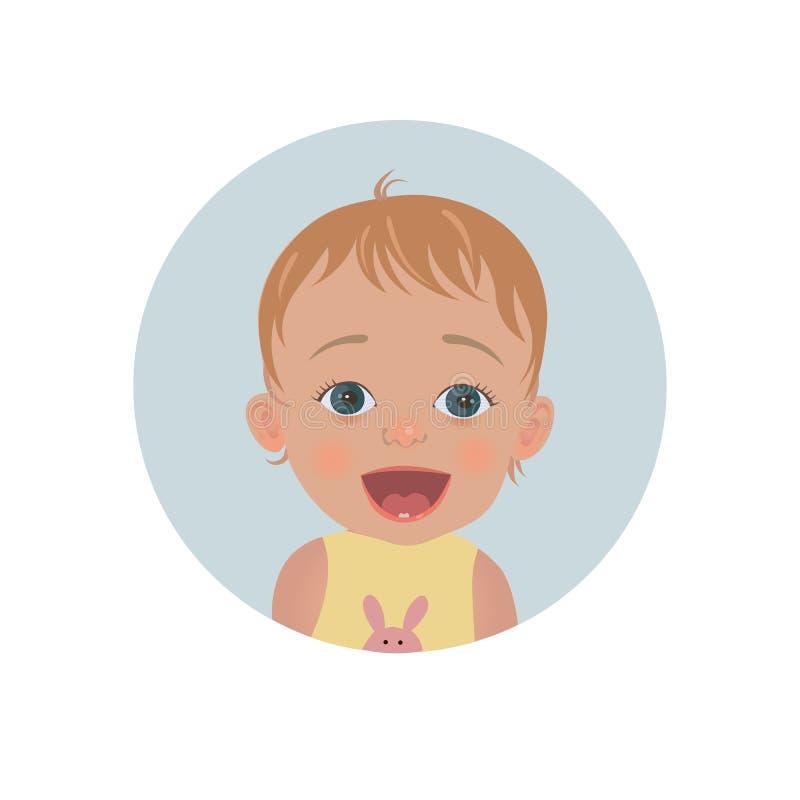 Émoticône étonnée de bébé Smiley étonné d'enfant illustration libre de droits