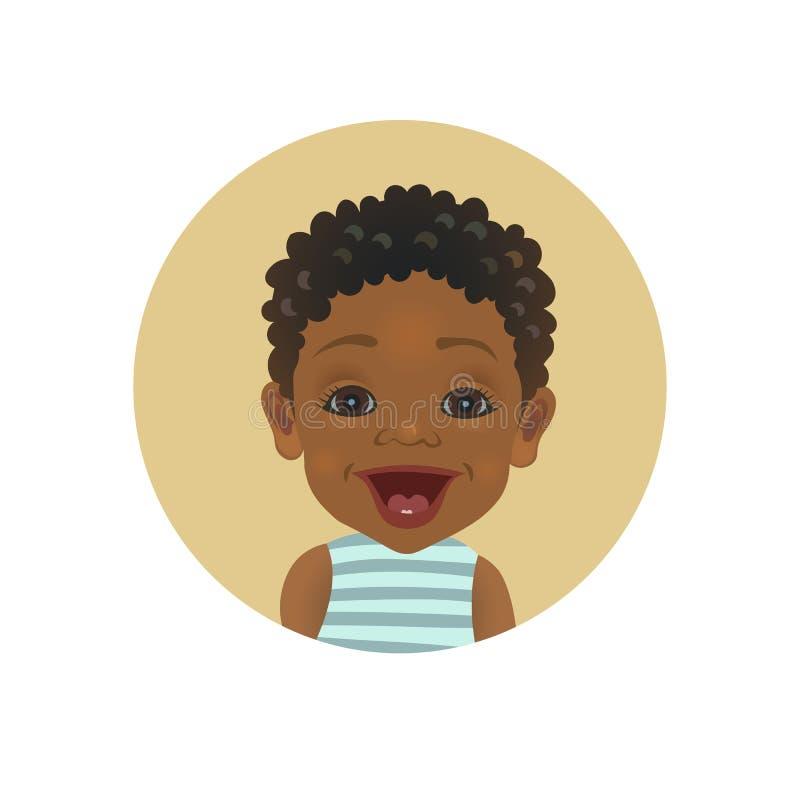 Émoticône afro-américaine étonnée de bébé Smiley africain étonné d'enfant Avatar à la peau foncée stupéfait mignon d'expression d illustration de vecteur