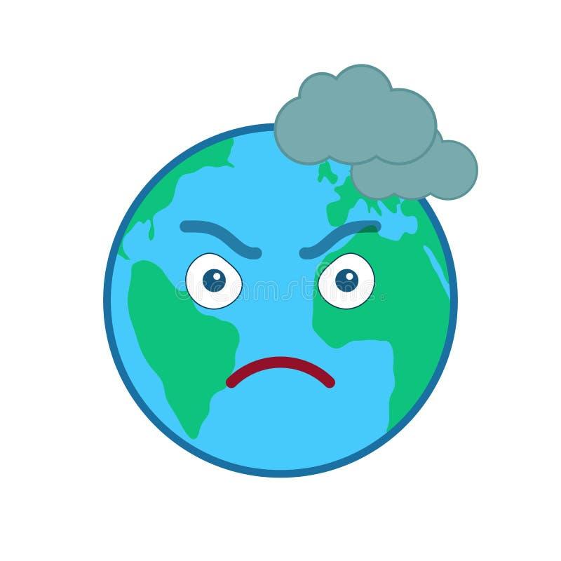 Émoticône d'isolement par globe de froncement de sourcils du monde illustration libre de droits