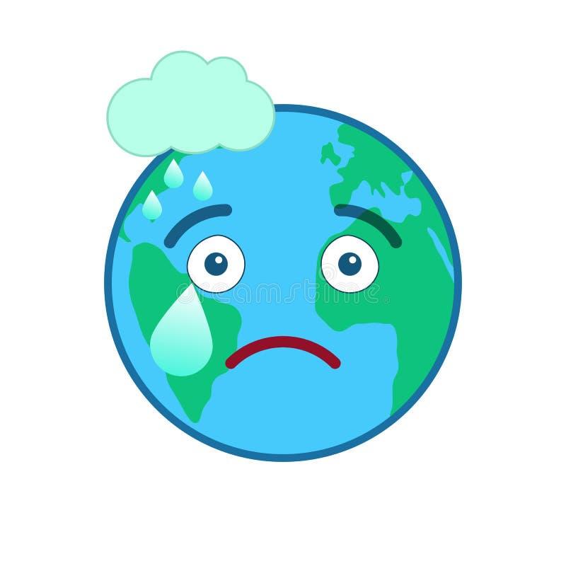 Émoticône d'isolement par globe mélancolique du monde illustration de vecteur