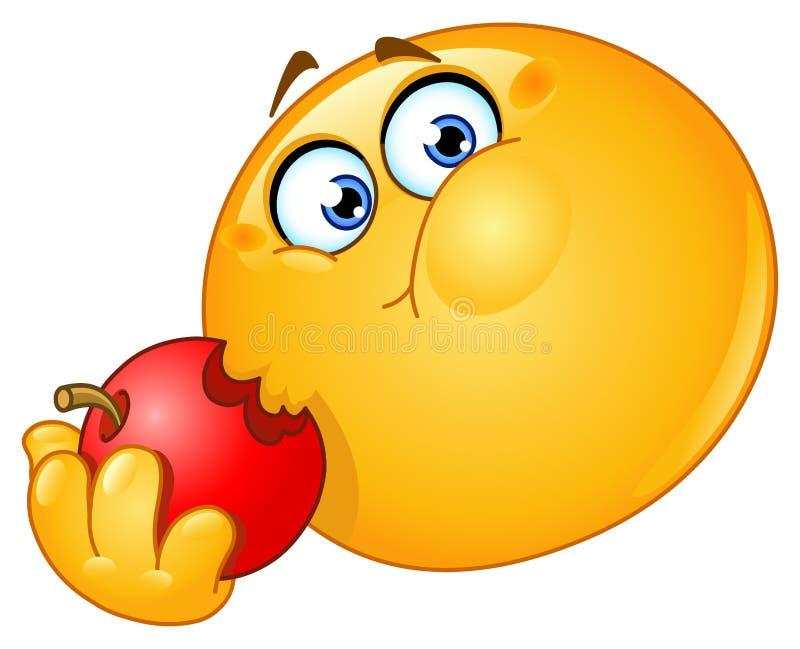 Émoticône mangeant la pomme illustration de vecteur