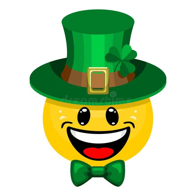 Émoticône mignonne dans le chapeau et le noeud papillon verts irlandais traditionnels avec le trèfle pour le jour du ` s de St Pa illustration libre de droits