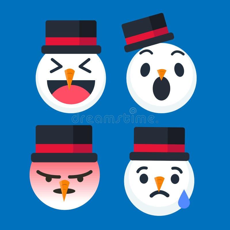 Émoticône mignonne de bonhomme de neige réglée pour la saison de Noël Illustrateur de vecteur illustration libre de droits