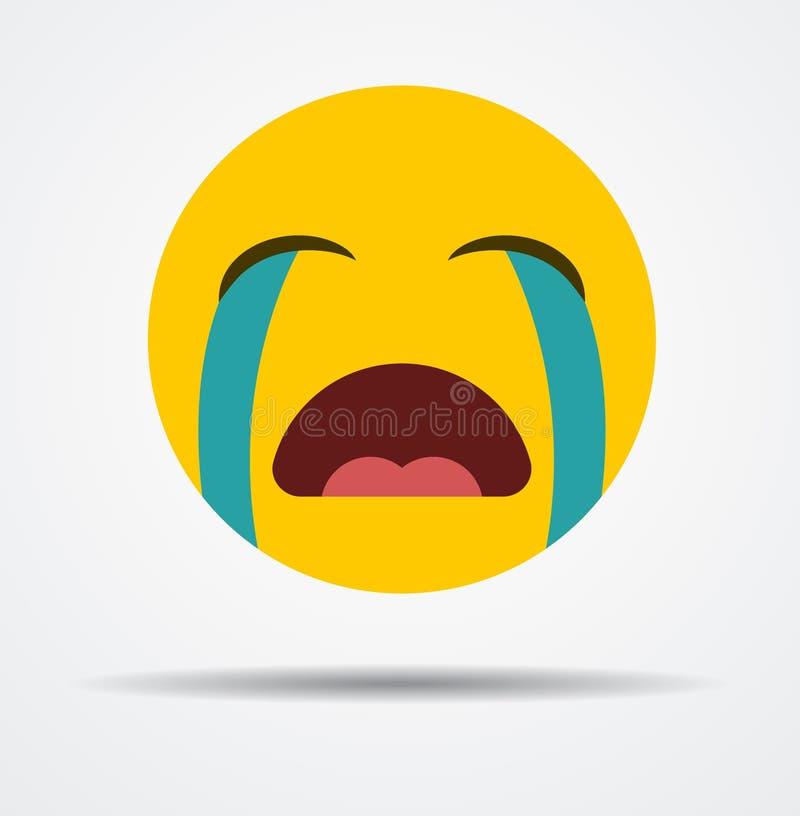 Émoticône pleurante d'isolement dans une conception plate illustration de vecteur