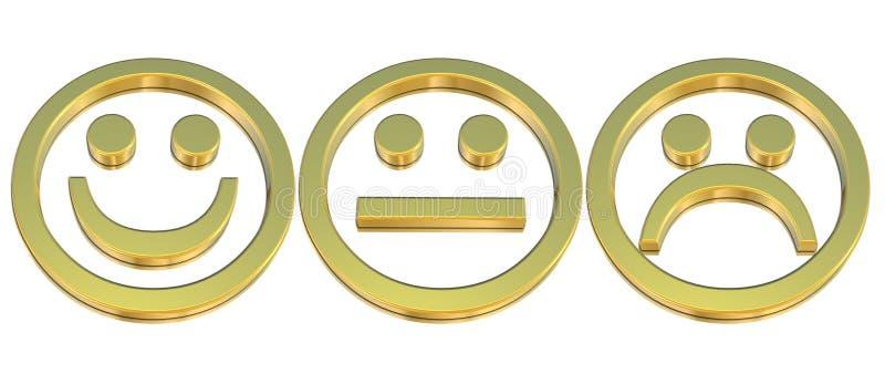 Émoticônes d'or illustration de vecteur