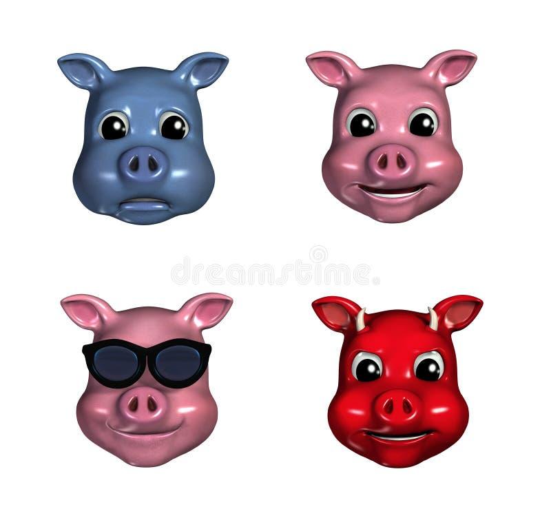 Émoticônes porcines illustration libre de droits