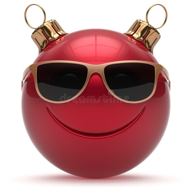 Émoticône d'Ève de la bonne année souriante de visage de boule de Noël illustration de vecteur