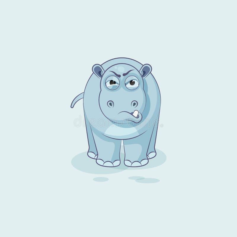 Émoticône d'autocollant d'hippopotame avec émotion fâchée illustration libre de droits