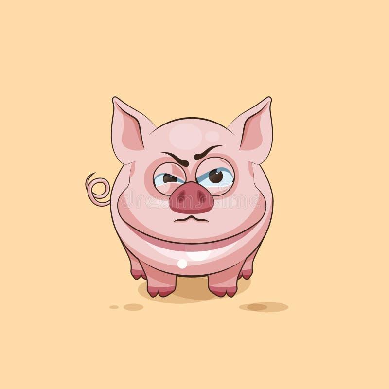 Émoticône d'isolement d'autocollant de porc de bande dessinée de caractère d'Emoji avec émotion fâchée illustration libre de droits