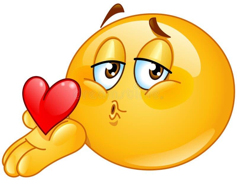Émoticône de soufflement de mâle de baiser illustration de vecteur