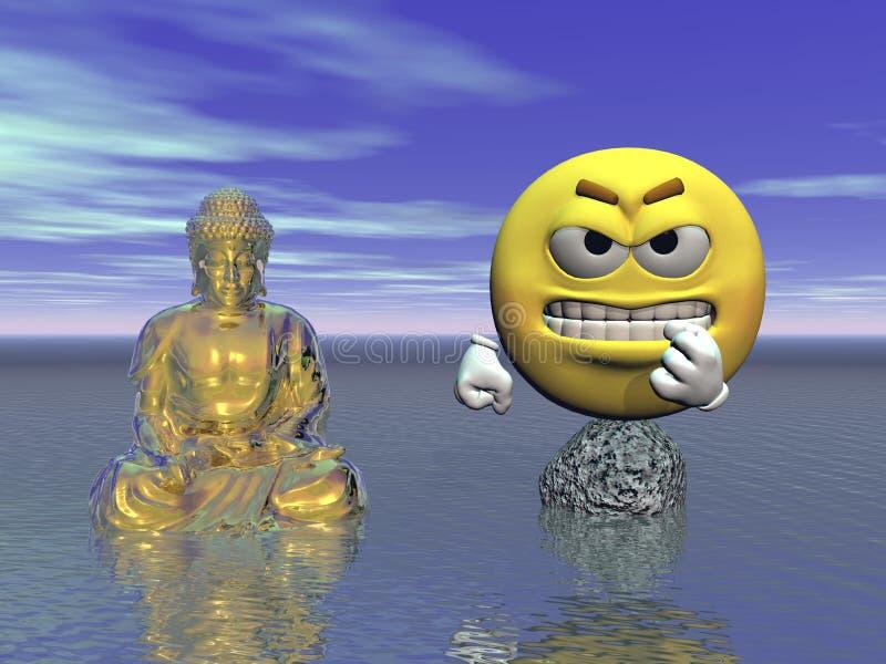 Émoticône et Bouddha - 3d rendent illustration libre de droits