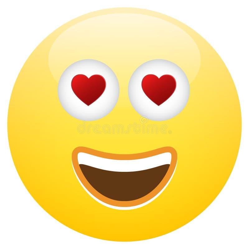 Émoticône Smiley Face Love illustration stock