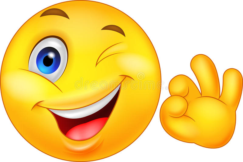 Émoticône souriante avec le signe correct illustration stock