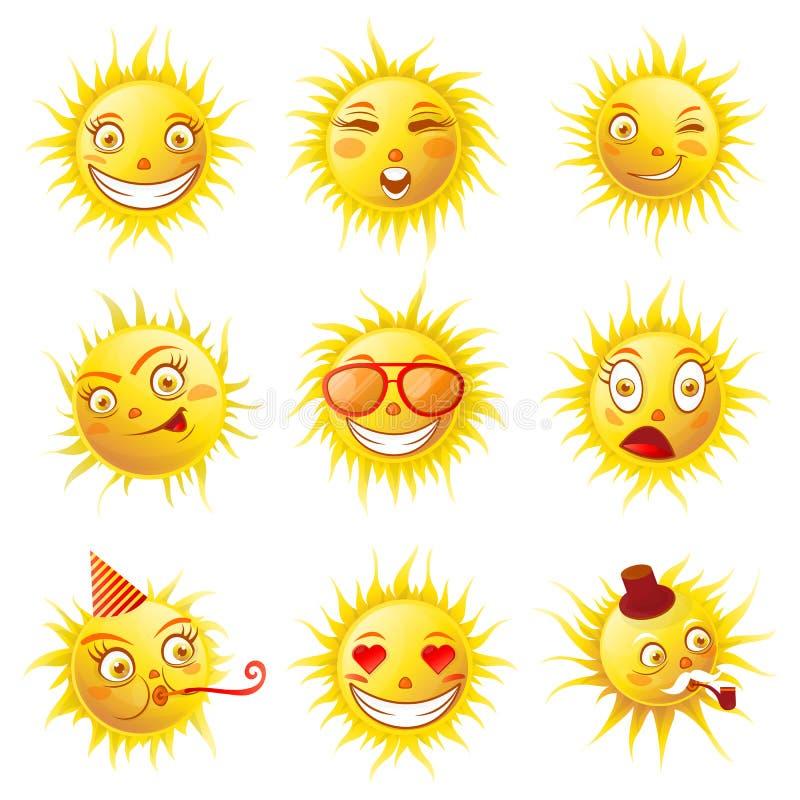 Émoticônes de bande dessinée de sourires de Sun et icônes de vecteur de visages d'emoji d'été réglées illustration libre de droits