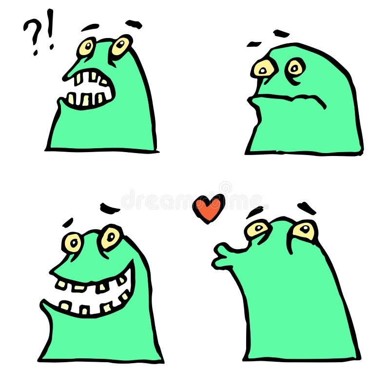 Émoticônes vertes de monstre réglées Caractère frais de bande dessinée drôle Illustration de vecteur illustration stock