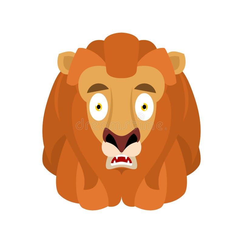 Émotion d'avatar d'OMG effrayée par lion Animal sauvage oh mon emoji de Dieu fri illustration libre de droits