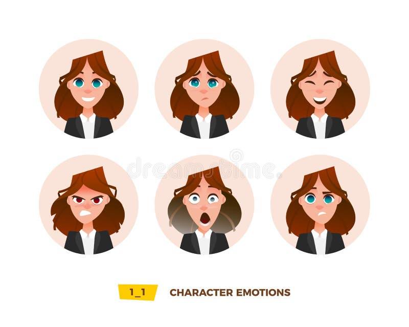 Émotion d'avatars de caractères en cercle illustration stock