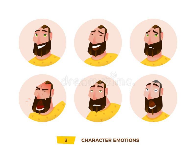 Émotion d'avatars de caractères en cercle illustration de vecteur