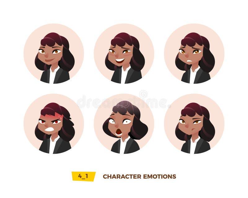 Émotion d'avatars de caractères en cercle illustration libre de droits