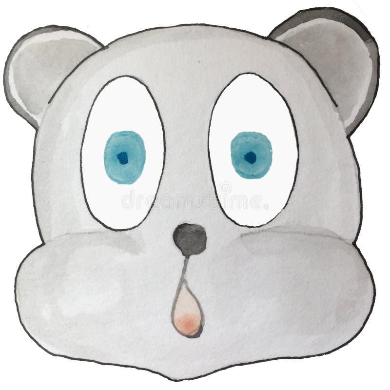 Émotion de bande dessinée, ours gris, étonné illustration libre de droits