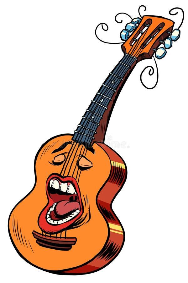 Émotion de caractère Emoji instrument de musique de guitare acoustique illustration de vecteur