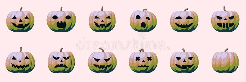 Émotion de citrouille d'Halloween, effet kitsch moderne illustration stock