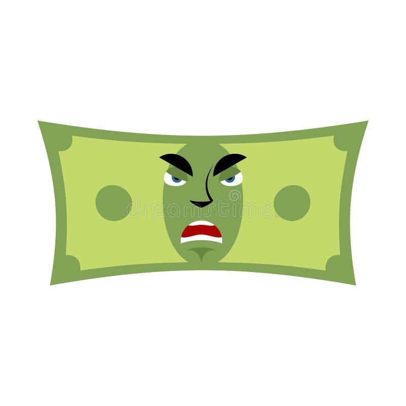 Émotion fâchée d'argent Mal d'Emoji d'argent liquide le dollar a isolé illustration stock