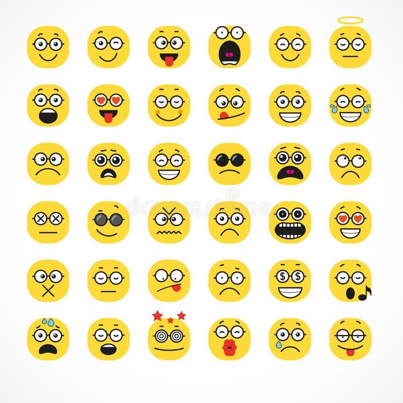 Émotion positive de sourire de personnes de visage de bande dessinée illustration stock